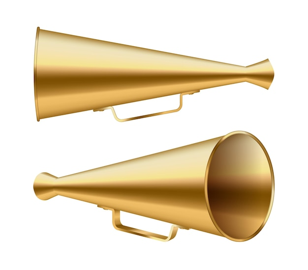 ヴィンテージメガホンスピーカーまたはスピーカー拡声器のセット。レトロホーンラウドハイラー、サウンドアンプ
