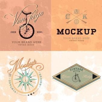 ヴィンテージモックアップロゴデザインベクトルのセット