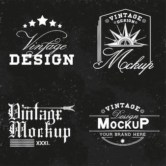 ビンテージモックアップロゴデザインベクトルのセット