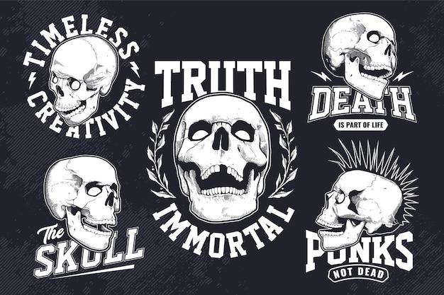 暗い背景に彫刻スタイルの頭蓋骨とビンテージモノクロエンブレムのセット。 tシャツプリントデザインテンプレート。ベクターeps10グラフィック。