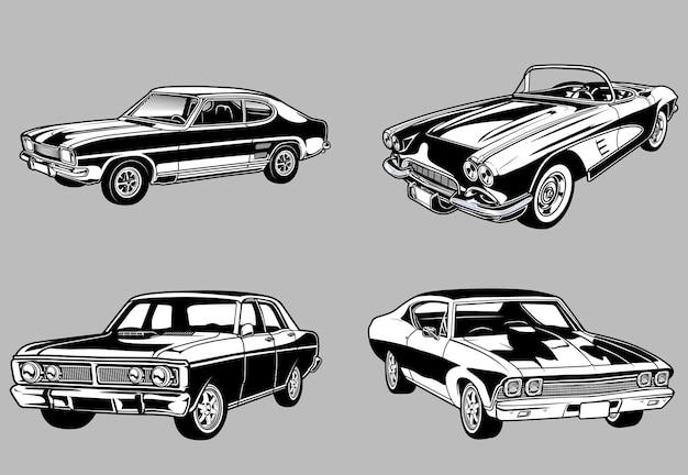 흑백 복고 스타일 자동차의 빈티지 근육과 클래식 자동차 세트