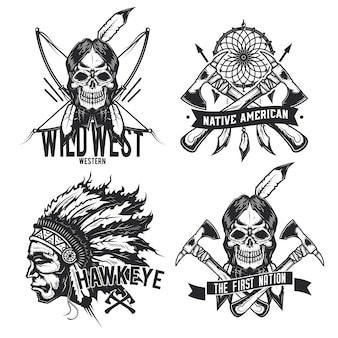 빈티지 아메리카 원주민 엠블럼, 라벨, 배지, 로고의 집합입니다. 흰색 절연