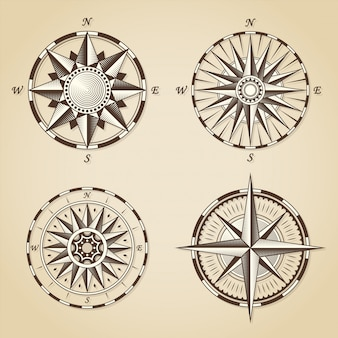Набор старинных старинных старинных морских компасных роз
