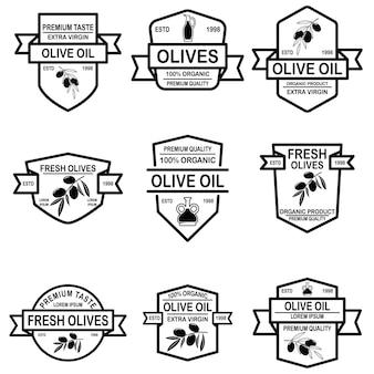 ヴィンテージオリーブオイルラベルのセットです。ロゴ、ラベル、サイン、バッジ、ポスターのデザイン要素。