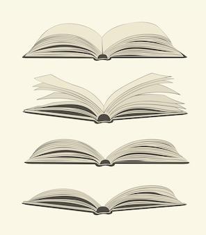 밝은 배경에 빈티지 오픈 책 세트