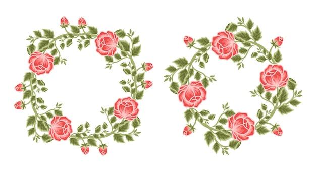 빈티지 모란 꽃 프레임 및 화환 배열 세트