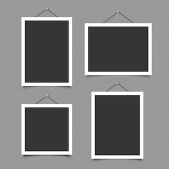 Set of vintage photo frame with tape, paper clip