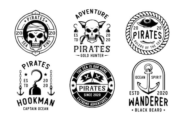 빈티지 해적 배지 또는 로고 세트