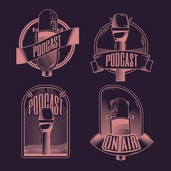 빈티지 팟 캐스트 로고 세트