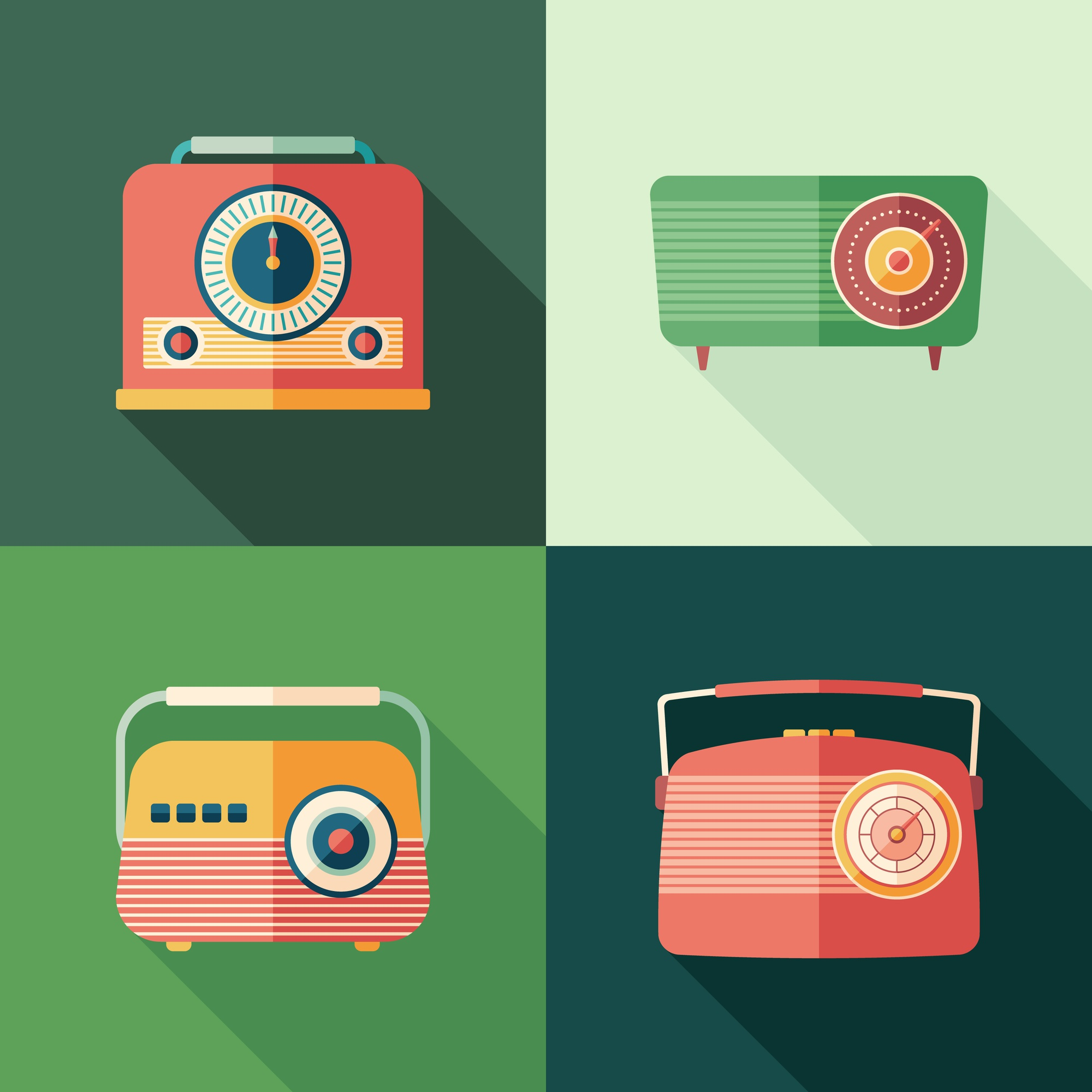 Set of vintage radios flat square icons with long shadows.