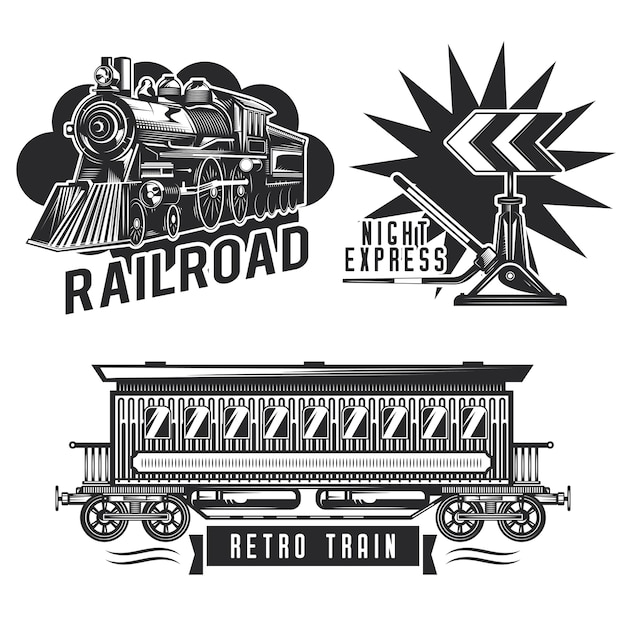 Набор старинных железнодорожных эмблем