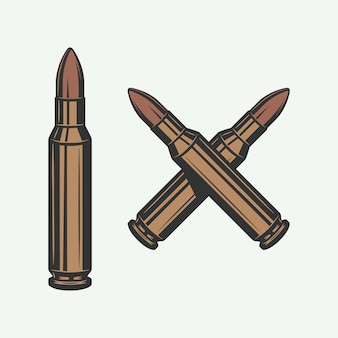 ヴィンテージレトロ弾丸のセットロゴに使用できます