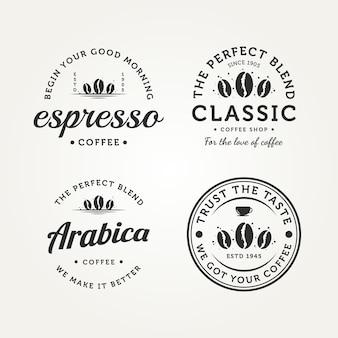 ヴィンテージレトロコーヒーバッジロゴベクトルイラストデザインのセット