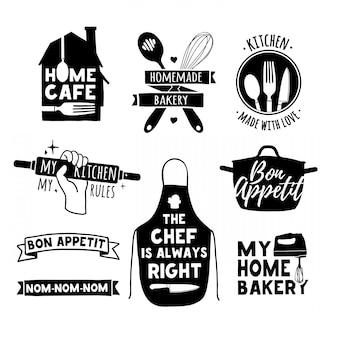 ビンテージレトロな手作りバッジ、ラベル、ロゴ要素、ベーカリーショップ、クッキングクラブ、カフェ、フードスタジオ、または家庭料理のレトロなシンボルのセット。シルエットのカトラリーとテンプレートのロゴ。