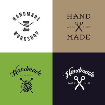 빈티지 레트로 수제 배지, 라벨 및 로고 요소, 지역 봉제 상점, 니트 클럽, 수제 아티스트 또는 니트웨어 회사에 대한 복고풍 기호 집합입니다. 템플릿 로고.