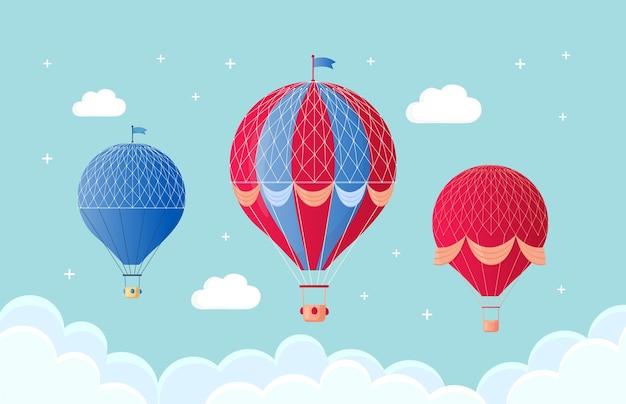 Набор старинных ретро воздушный шар с корзиной