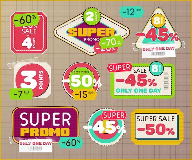 빈티지 복고 레이블 및 스카치 테이프 및 가격표와 태그의 집합입니다. 슈퍼 프로모션을위한 판매 및 할인 배지.