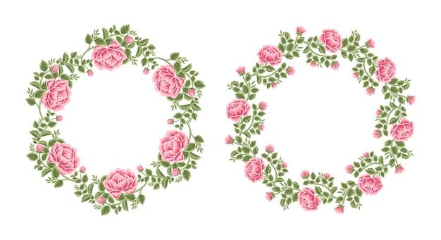 빈티지 장미 꽃 프레임 및 화환 배열 세트