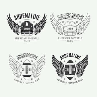 ヴィンテージラグビーとアメリカンフットボールのラベル、エンブレム、ロゴのセットです。ベクトルイラスト
