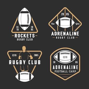 ビンテージラグビーとアメリカンフットボールのラベル、エンブレム、ロゴのセット。