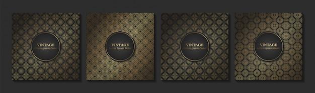 ヴィンテージのシームレスなダマスクパターンと濃いブラックとゴールドのエレガントな花の要素のセット。