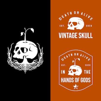 Набор старинных черепа и логотипа природы