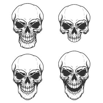 ヴィンテージ頭蓋骨イラストのセット
