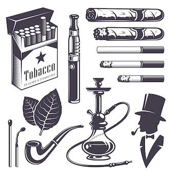 ビンテージ喫煙タバコ要素のセットです。モノクロスタイル。白い背景で隔離されました。