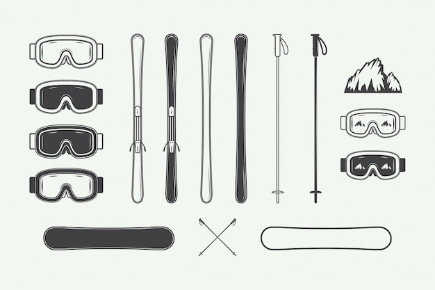ビンテージスノーボードや冬のスポーツデザイン要素のセットです。図。モノクログラフィックアート。