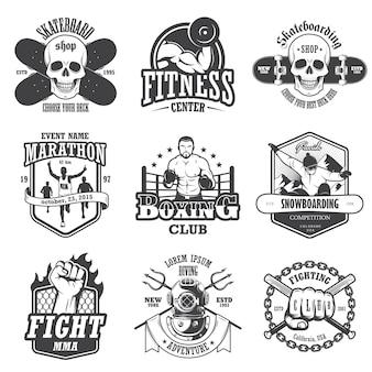 ビンテージスポーツエンブレム、ラベル、バッジ、ロゴのセットです。モノクロスタイル