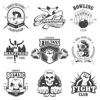 Набор старинных спортивных эмблем, этикеток, значков и логотипов. монохромный стиль