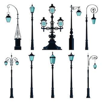Набор старинных уличных фонарей.