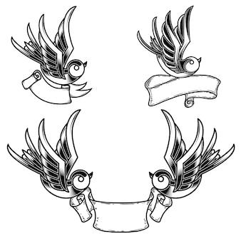 ツバメの鳥とリボンの背景とビンテージスタイルのタトゥーのセットです。ロゴ、ラベル、エンブレム、サインのデザイン要素。