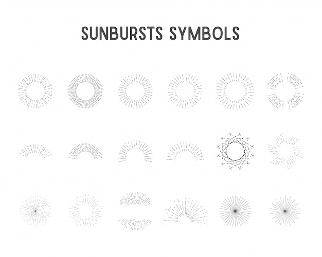 Набор старинных солнечных лучей, звездных огней. sillhouette, линейный дизайн.