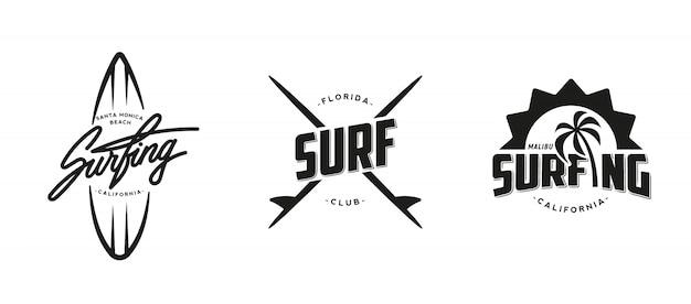 ビンテージサーフィングラフィック、ロゴ、ラベル、エンブレムのセットです。