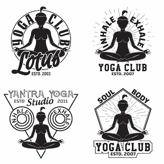 Набор графического дизайна винтажной футболки, марок с принтом гранжа, эмблемы клуба йоги или студии, спортивных эмблем креативный дизайн