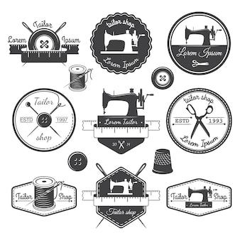 Набор старинных портных этикеток, эмблем и элементов дизайна. тема портного магазина