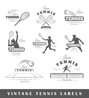 Набор старинных теннисных логотипов
