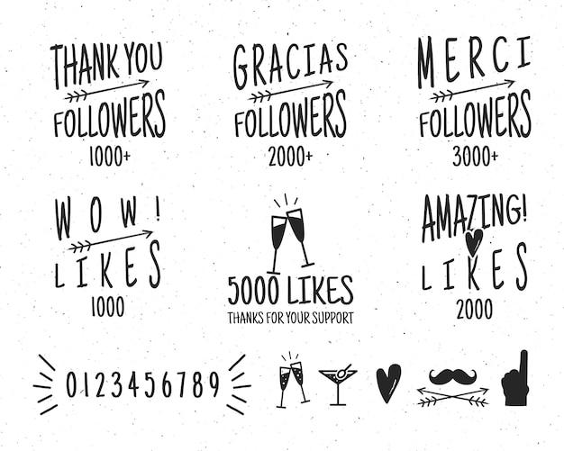 빈티지 감사 배지 설정합니다. 소셜 미디어 팔로어 라벨 및 스티커를 좋아합니다. 고립 된 벡터