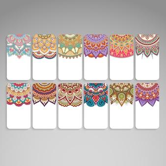 Набор винтажных свадебных пригласительных билетов с mandala