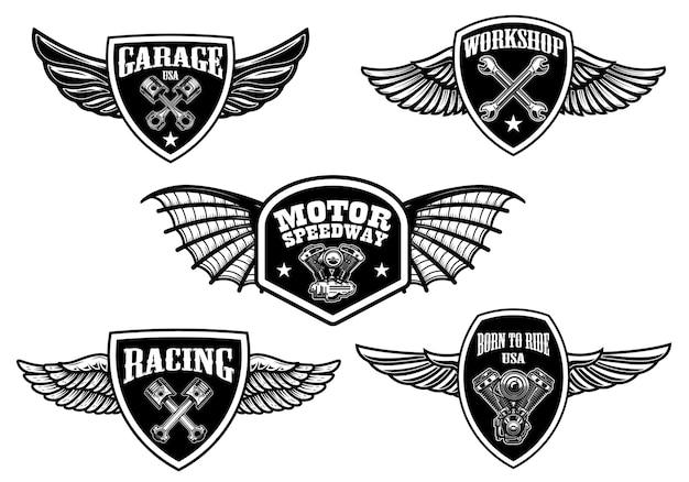 빈티지 날개 로고 세트. 레이싱, 오토바이, 수리 작업장.