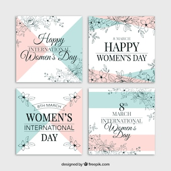 Set of vintage woman's day cards