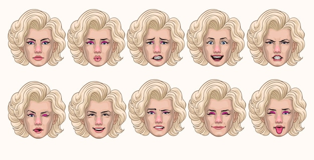 さまざまな表情のヴィンテージ女性スタイルのセット