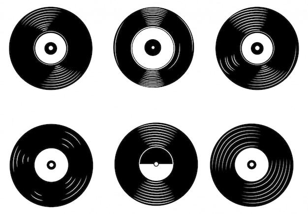 비닐 레코드 세트. 복고 스타일 디스크의 컬렉션입니다. 레트로 사운드 캐리어.