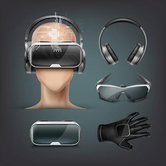 Набор гаджетов виртуальной реальности с различными головными оптическими дисплеями