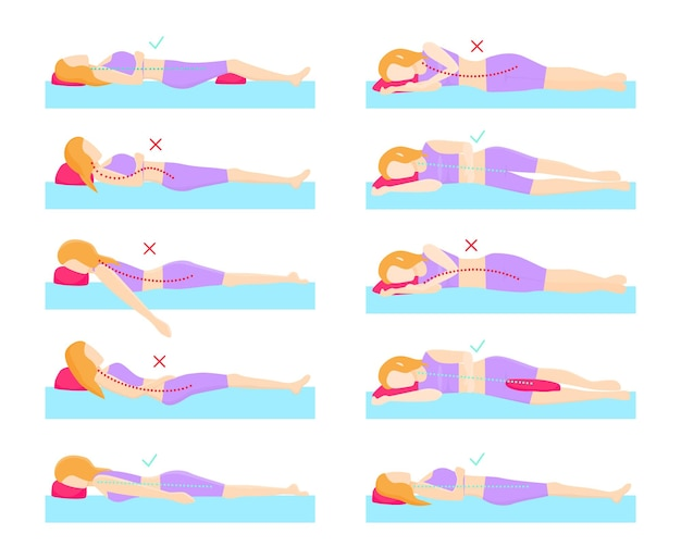 올바른 수면 자세가 포함된 시각적 삽화 세트입니다.