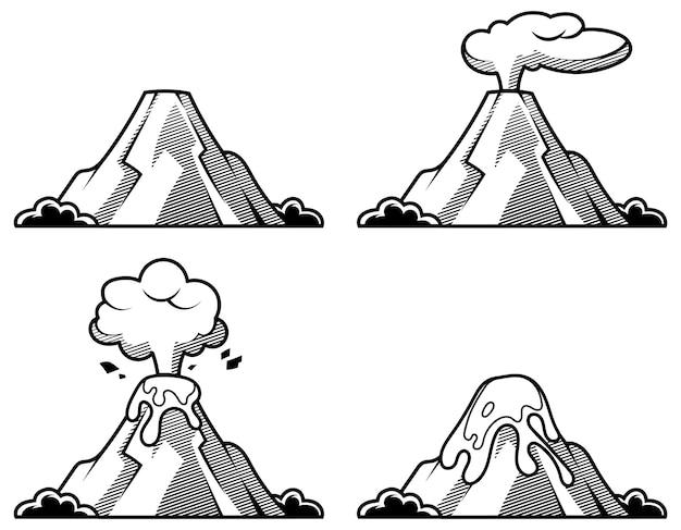 Множество вулканов разной степени извержения. иллюстрация в стиле гравюры.