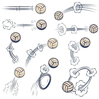 コミックスタイルのモーショントレイルとバレーボールのボールのセットです。ポスター、バナー、チラシ、カードの要素。図