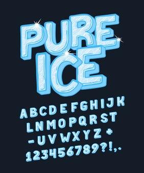 순수한 얼음 효과가있는 체적 문자 세트