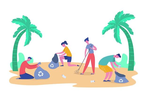 Набор персонажей добровольцев, собирающих мусор и пластиковые отходы для переработки, защиты окружающей среды и разделения, чтобы уменьшить концепцию загрязнения окружающей среды